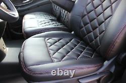 Sitzbezüge passend für Mercedes Sprinter W906 VW Crafter Kunstleder Rote Naht